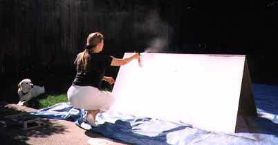 Spray-painting the cardboard