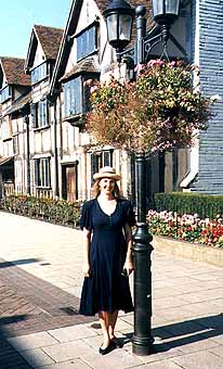 Britta with Lightpost at Shakespeare's Birthplace