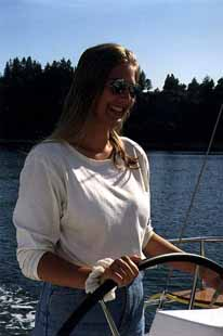 Britta at the helm
